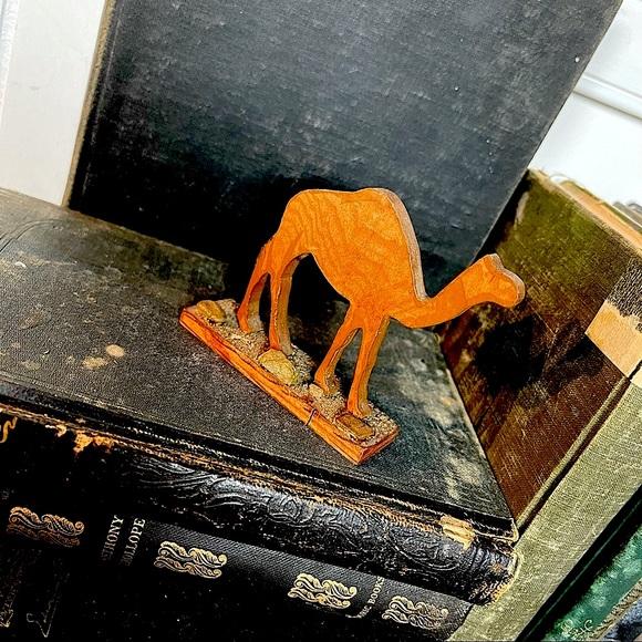 vintage wood camel sculpture